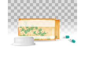 Pills are spilling out of a bottle. Realistic vector illustration. Tablets in a bottle on the transparent background.