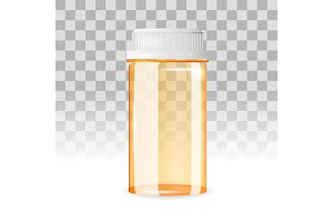 Closed and empty pill bottle on the transparent background. Realistic vector illustration.