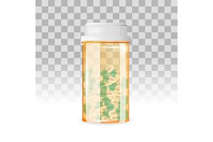 Closed bottle of capsule shaped pills on the transparent background. Realistic vector illustration.