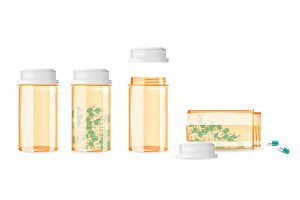 Set of closed and open pill bottles isolated on the white background. Realistic vector illustration.