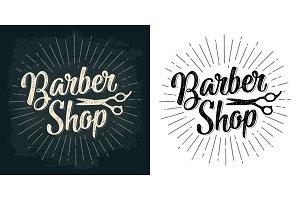 BarberShop calligraphic lettering and scissors
