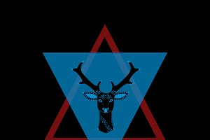 Deer head in triangle red and blue