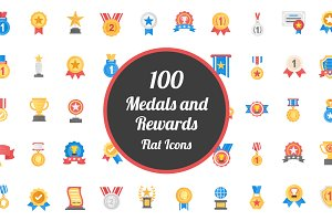 100 Medals and Rewards Flat Icons