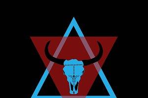 Animal skull bulls head blue