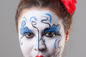 Woman with circus makeup