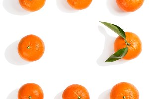 Whole tangerines. Above view.