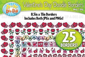 Valentine's Day Doodle Frame Borders