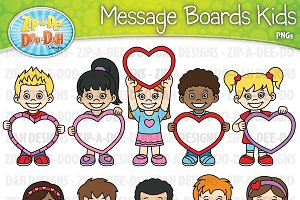 VDay Message Board Kids Clipart Set