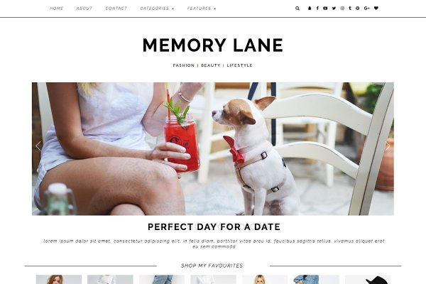 "WordPress Blog Themes: Kotryna Bass Design - Wordpress Theme ""Memory Lane"""