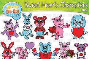 Sweet Heart Characters Clipart Set