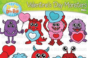 VDay Monster Characters Clipart Set