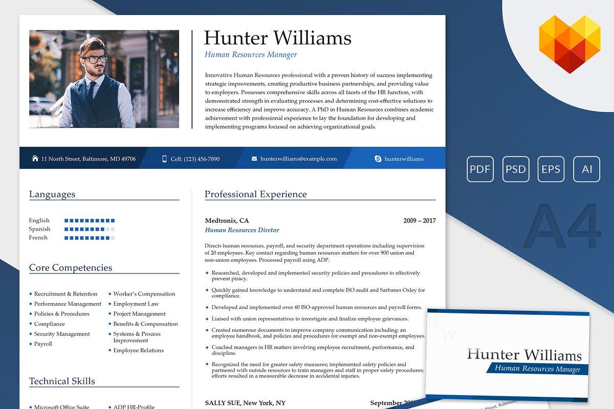 HR Resume Template PSD
