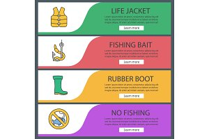 Fishing web banner templates set