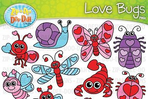 VDay Love Bugs Clipart Set