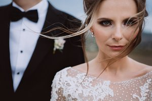 Beautiful bride with wind in hair