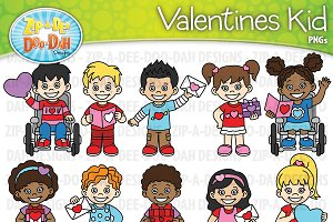 VDay Kid Characters Clipart Set