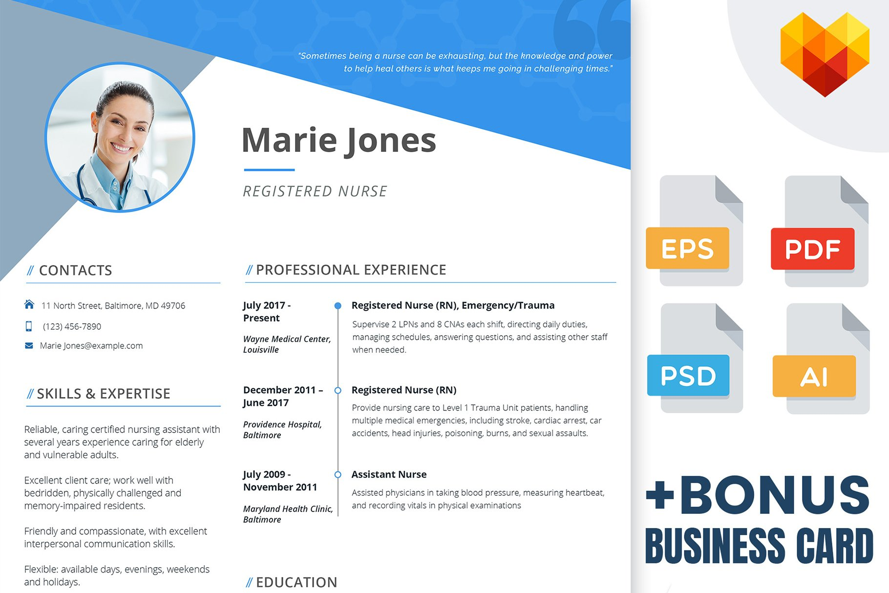 Nurse Resume - PSD, AI, EPS, PDF ~ Resume Templates ~ Creative Market