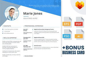 Nurse Resume - PSD, AI, EPS, PDF