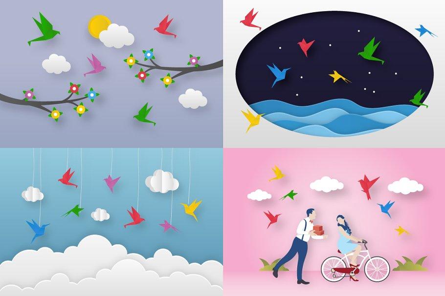 Vector Illustrations of Paper Birds