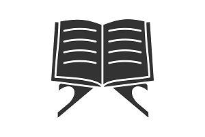 Open quran book glyph icon