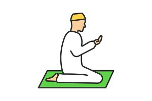 Praying muslim man color icon