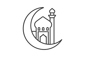 Mosque with ramadan moon linear icon