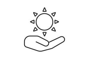 Open hand with sun linear icon