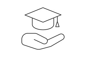 Open hand with graduation cap linear icon