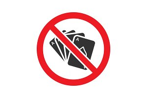 Forbidden sign with playing cards glyph icon