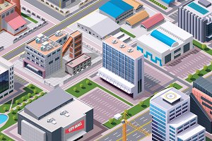Isometric industrial city district