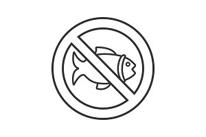 Forbidden sign with fish linear icon