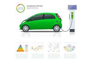 Infographics and Green electric car charging point vector. Renewable eco technologies. Green power.