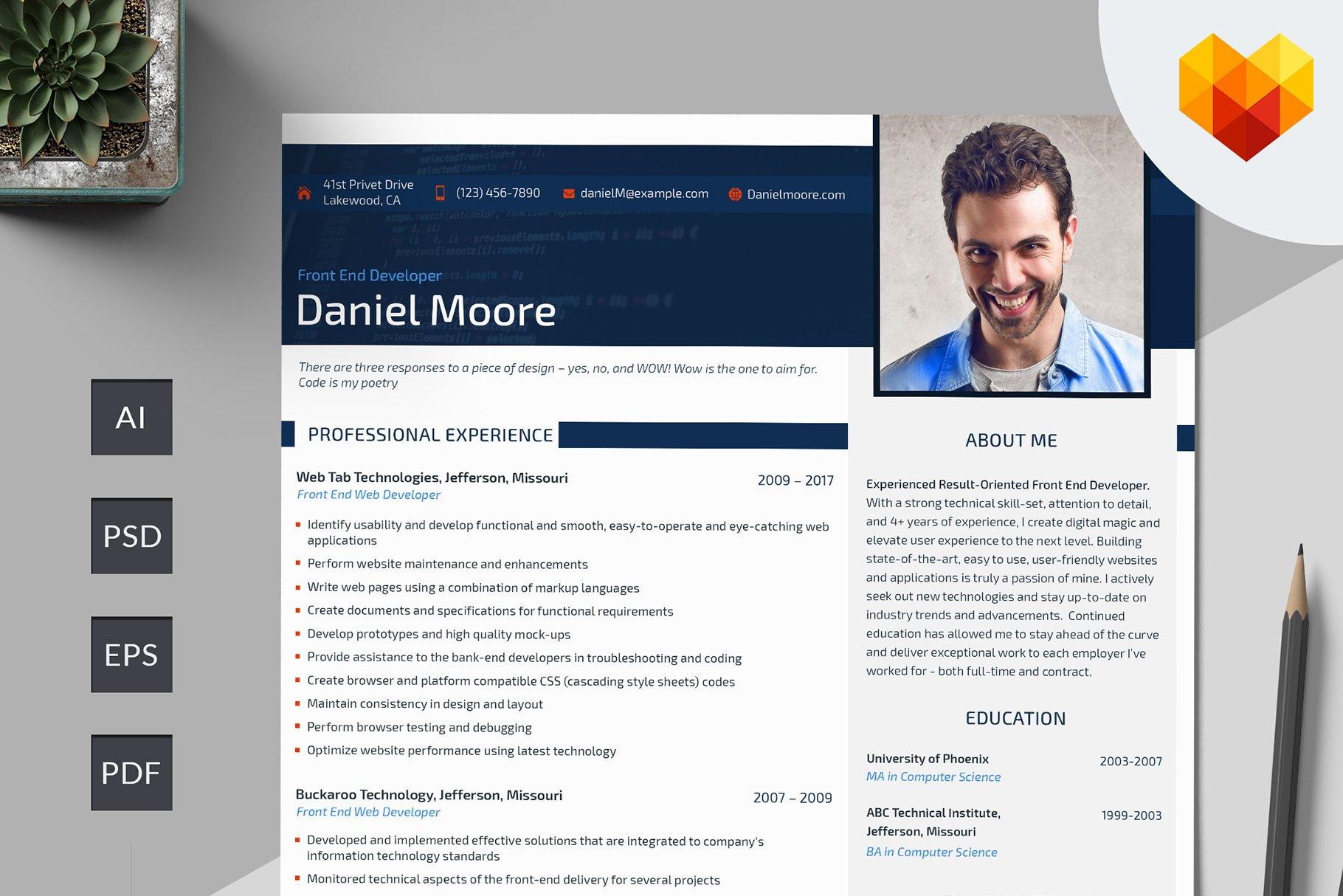 Front End Developer Resume Psd Resume Templates Creative Market
