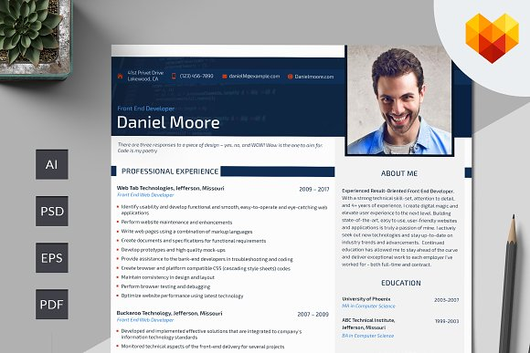 front end developer resume psd resume templates creative market