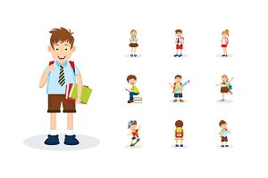 School Kids Vector Illustrations Set