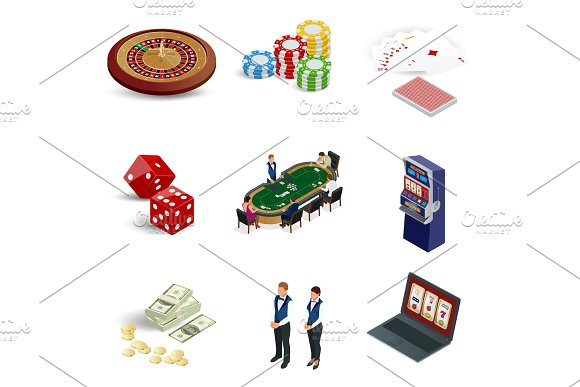 Isometric Casino Icons Set Laptop With Roulette Slot Machine Dice Casino Chips And Playing Cards Isolated On Background Vector Illustration