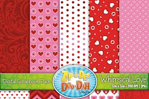 Whimsical Love Digital Papers Set
