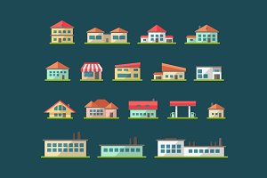 Buildings Flat Design Icons Set 2
