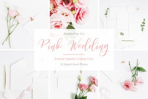 Pink Wedding Invitation Styled Stock