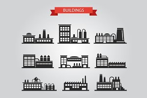 Buildings Silhouettes Icons Set 3
