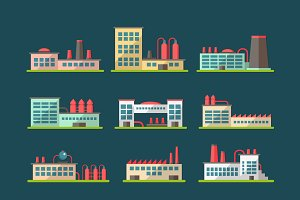 Buildings Flat Design Icons Set 3