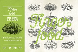 Hand drawn fingerfood illustrations