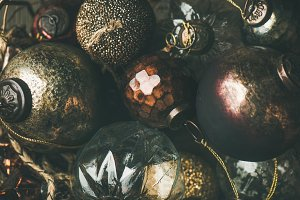 Vintage Christmas or New Year holiday tree decoration balls