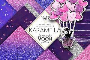 Violet & Pink Glitter Textures