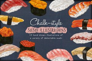 Chalk-style Sushi Illustrations