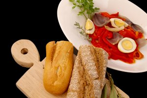Tray with peppers salad and bread