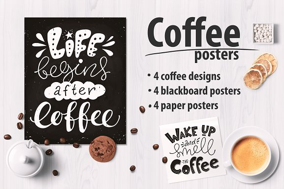Coffee lettering posters -Graphicriver中文最全的素材分享平台