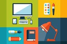 School Flat Design Elements