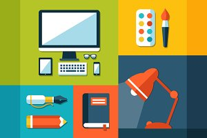 School Flat Design Elements