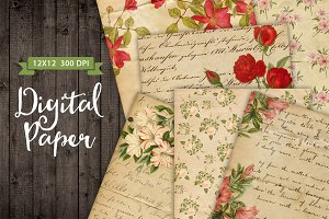 6 Vintage Floral Paper Backgrounds